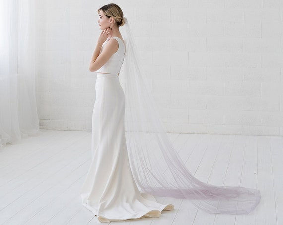 Jean - ombre bridal veil / single tier narrow veil / elbow, fingertip, ballet, waltz, chapel, cathedral, royal length veil / dip dyed veil