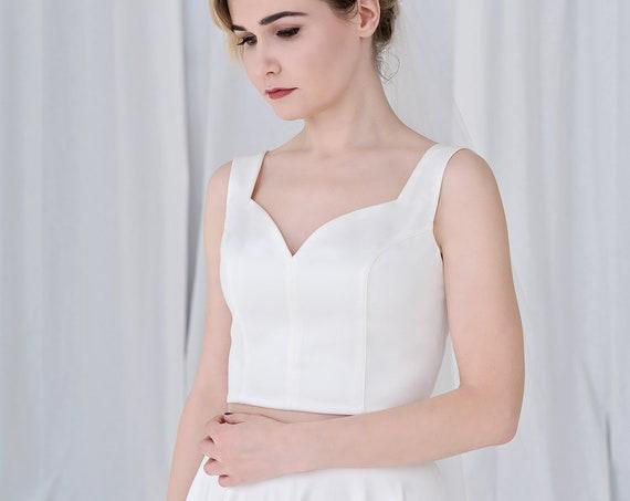 Josephine - sweetheart neckline bridal crop top