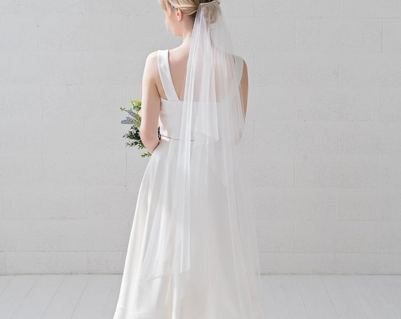River - handkerchief veil / square shape bridal veil / wedding veil with edges / double tier bridal veil / tiered handkerchief veil