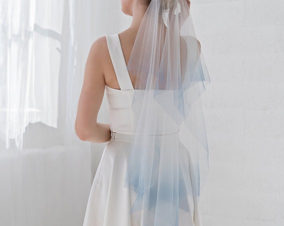 River - handkerchief veil with custom dyed colorful ombre tips / double tier veil / something blue bridal veil / ombre wedding veil