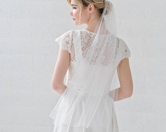 Jean - minimalist single tier narrow veil / elbow, fingertip, ballet, waltz, chapel, cathedral, royal length veil