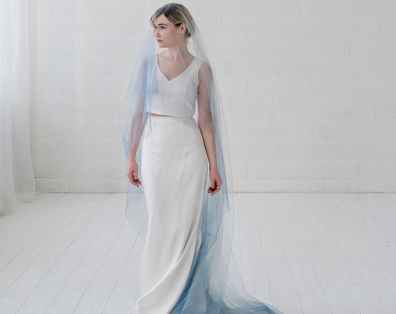 Leah - ombre bridal veil / drop veil / double tier veil with blusher / elbow, fingertip, ballet, waltz, chapel, cathedral, royal length veil