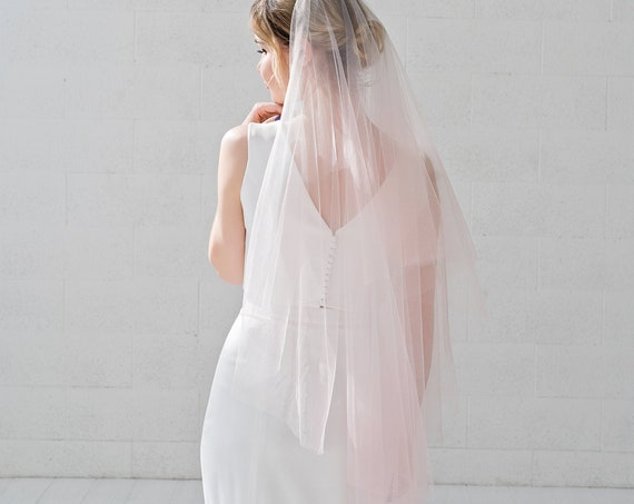 Leah - ombre veil / drop bridal veil with dip dyed tips / tiered veil with blusher / elbow, fingertip, ballet, waltz, chapel, cathedral