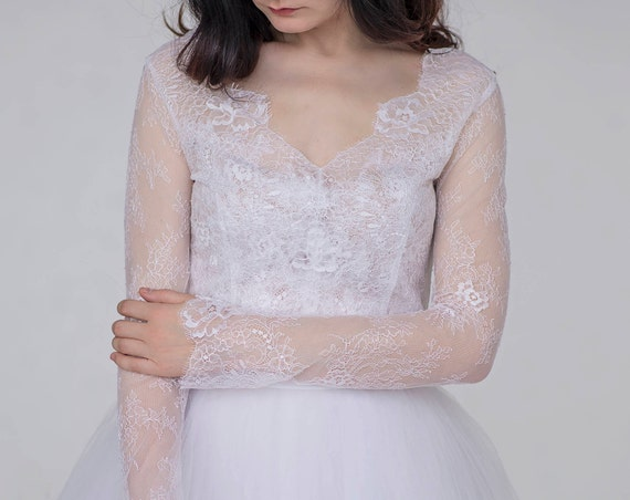Aurora - sheer lace bridal top