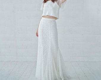 Francine - beaded sparkly flapper wedding dress inspired by 20s Gatsby style, fit and flare mermaid skirt and bridal crop top