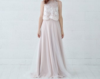 Zahara - heavy beaded ivory and champagne two piece beach wedding dress with lightweight chiffon and tulle bridal skirt