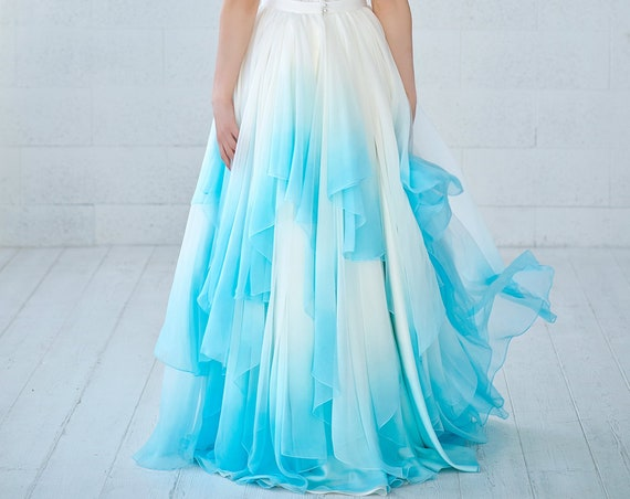Skye - ombre dip dyed flowing chiffon wedding skirt with irregular whimsical hemline