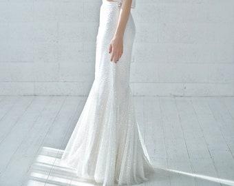 Francine - sparkly beaded flapper wedding skirt in mermaid silhouette