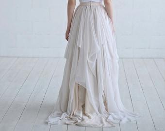 Maegan - chiffon bridal skirt / lightweight bridal skirt / bohemian bridal skirt / layered color bridal skirt / airy and light wedding skirt
