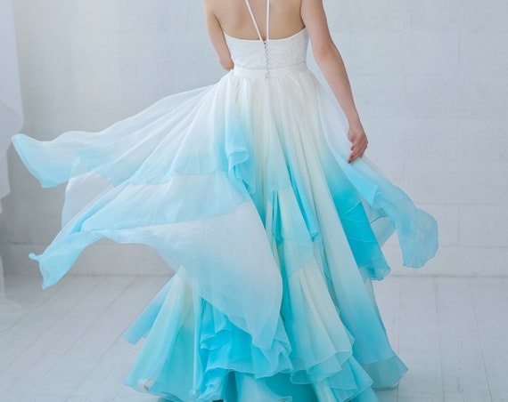 Skye - wedding dress / ombre wedding dress / bridal separates / two piece wedding dress / flowing wedding dress / unique bridal gown