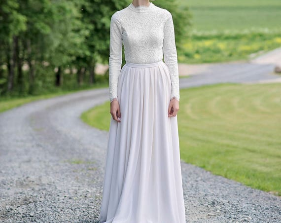 Laurel - high neck wedding dress