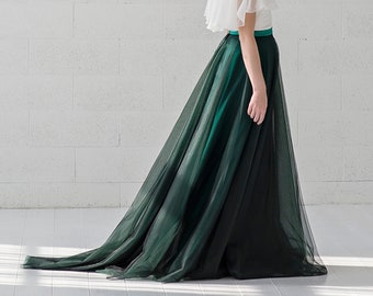 Morgana - slim A line tulle skirt in dimensional colors