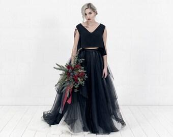Lilith - alternative wedding dress / black bridal gown / gothic bride wedding dress / custom color gown / dark colors wedding dress