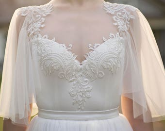 Grace - flutter sleeve bridal top / bridal bodysuit / ivory wedding top / bridal separates / flutter sleeves top / open back bridal top