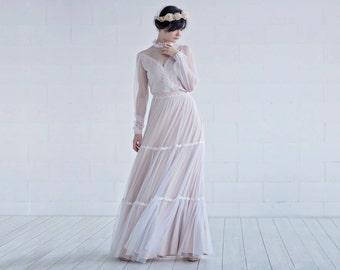 Rue - retro bridal gown / countryside wedding dress / country bridal gown / vintage wedding dress / poet sleeves bridal gown