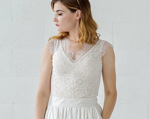Rhea - boho bridal lace top