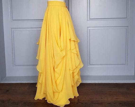 READY TO SHIP  yellow chiffon bridal skirt / draped marigold wedding skirt / size us 0/2