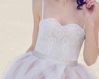 c3651e9abc0 Cate - bridal corset   bridal lace corset   lace corset top   spaghetti  straps top   sweetheart corset   sweetheart bridal top