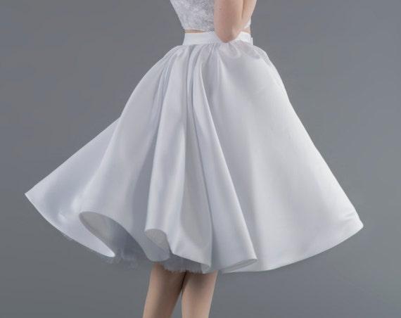 READY TO SHIP: midi skirt / white midi skirt / full circle skirt / bridal satin skirt / tea length bridal skirt / us size 2