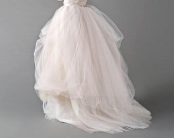 / tulle wedding skirt / bridal skirt / nude tulle skirt / bridal tulle skirt / wedding skirt /