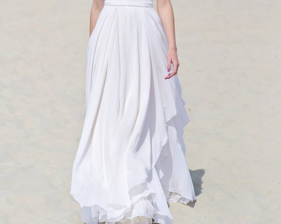 Eirene - layered and draped bridal chiffon skirt
