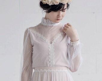 Rue - retro bridal top / wedding top with poet sleeves / swiss dotted wedding top / coutry bridal top / rustic wedding top / high neck top