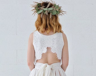 Brianna - bohemian cross back lace bridal crop top