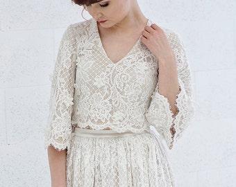 a1206153026 Meri - flare sleeves rustic lace wedding top   bohemian bridal top   boho  bridal top   wide sleeve wedding crop top   boho bridal lace top