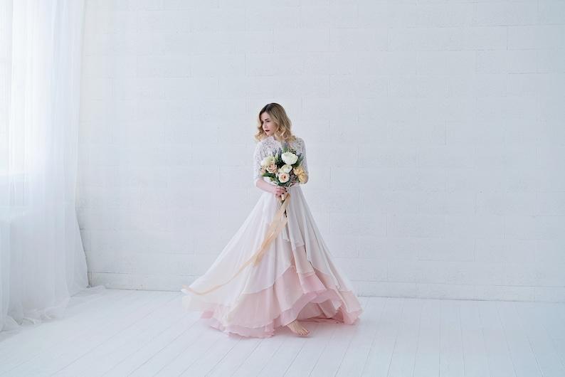 Xylona  bohemian wedding dress / chiffon wedding dress / image 0