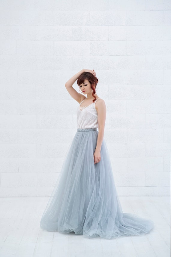 Cora jupe de mariage en tulle bleu gris /