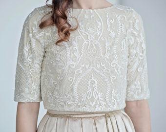 Oria - bridal lace crop top / wedding crop top / golden bridal top / white and gold wedding top / gold bridal crop top  / wedding top