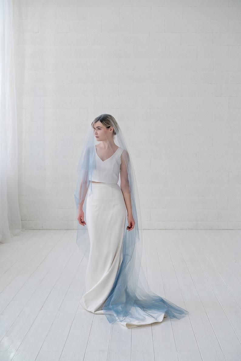 Leah  ombre bridal veil / drop veil / double tier veil with image 0