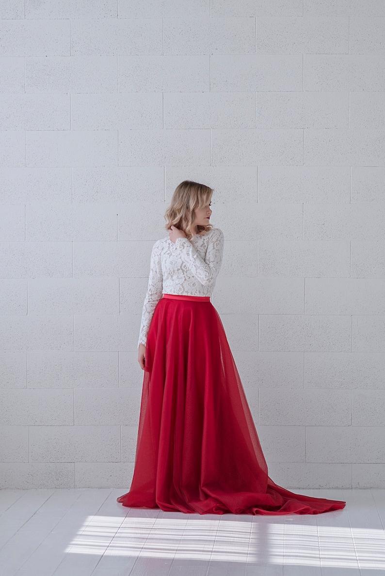 Eirene  long sleeve bridal top / modest wedding top / bridal image 0