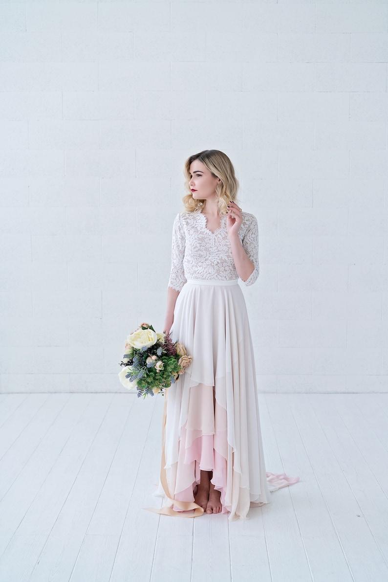 Xylona  high low chiffon bridal skirt in wrap style / layered image 0