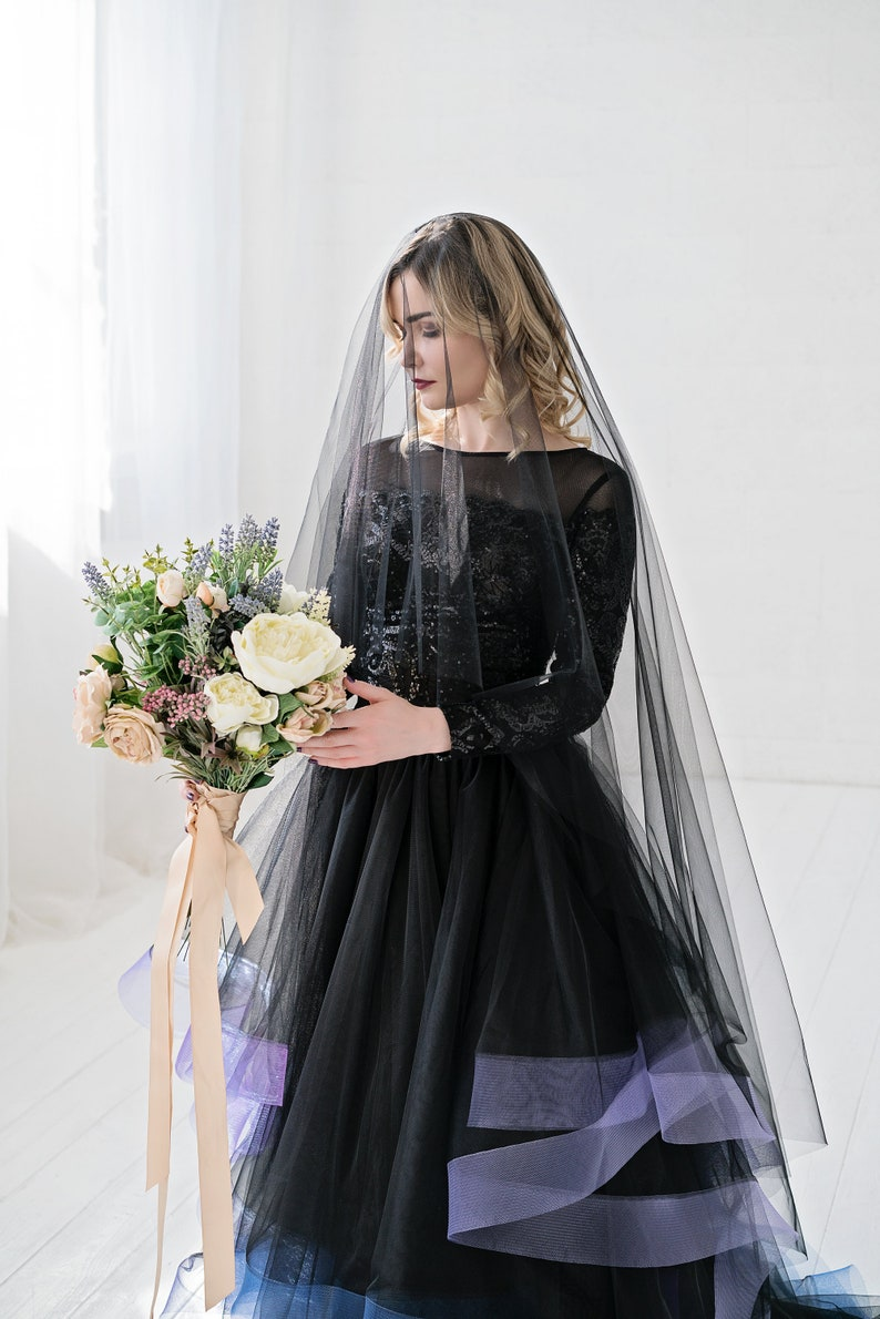 Leah  black veil / double tier veil with blusher / image 0