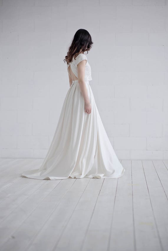 Aiko - crop top wedding dress in satin