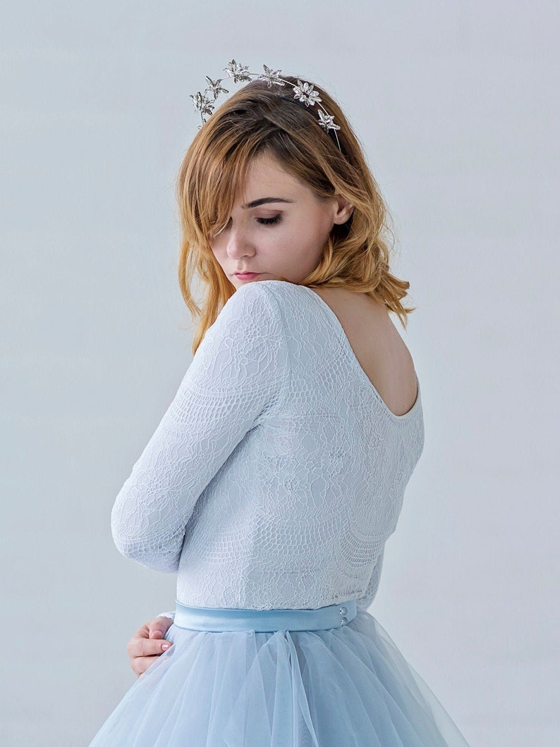 Aella  long sleeved bridal top / white and blue lace wedding image 0