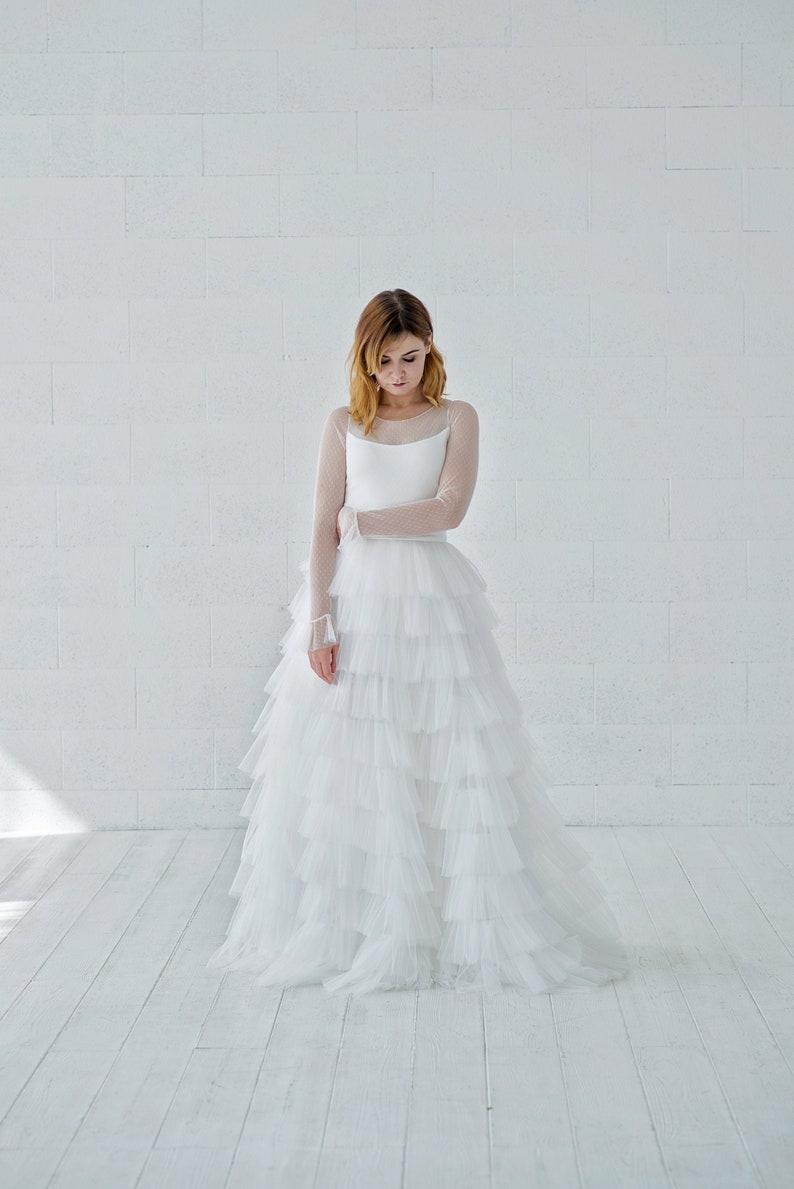 Octavia  tiered tulle bridal skirt / ruffled tulle wedding image 0