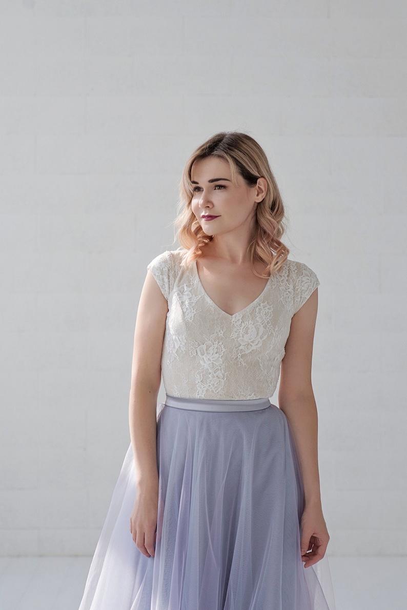 Morgana  ivory lace bridal top / bridal separates / short image 0