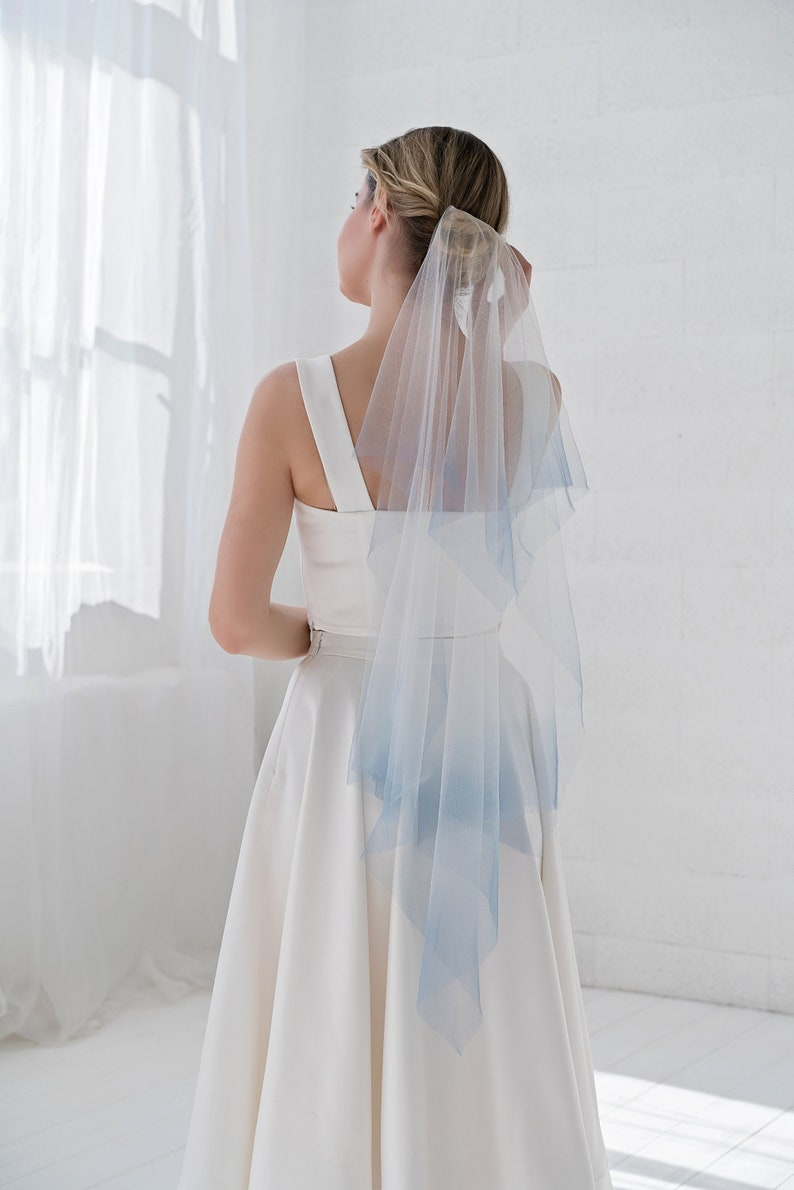 River  handkerchief veil with custom dyed colorful ombre tips image 0