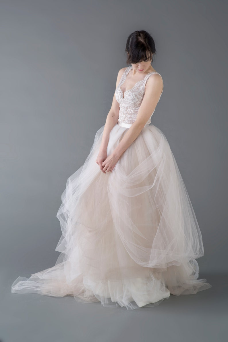 Catherine  two piece wedding dress / bridal gown  / nude image 0