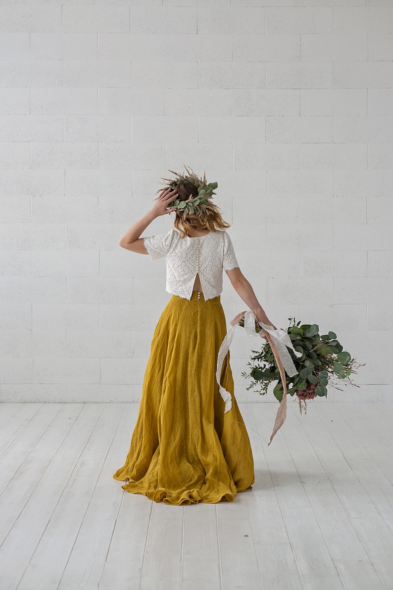 Penelope  boho mustard bridal skirt / linen wedding skirt / image 0