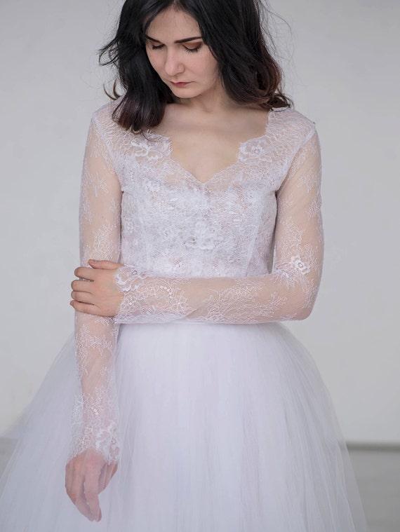 Aurora - sheer lace bridal top