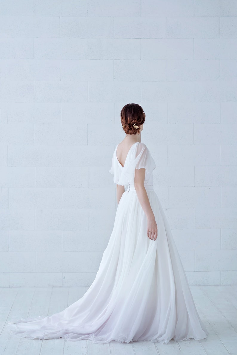Tulia  ombre dip dyed flowing chiffon wedding skirt with image 0