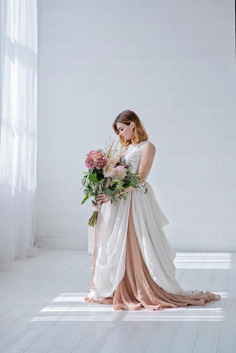 Brianna  bohemian bridal skirt / linen wedding skirt / boho image 0