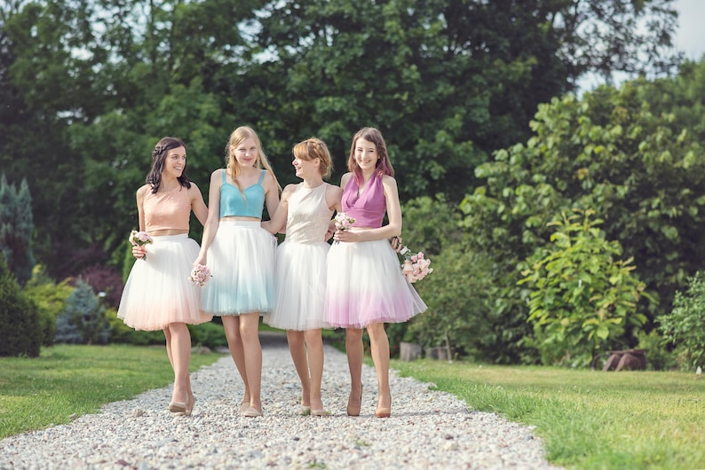 Blushing Ballerina: hand dyed ombre tulle skirt / ladies tulle image 0