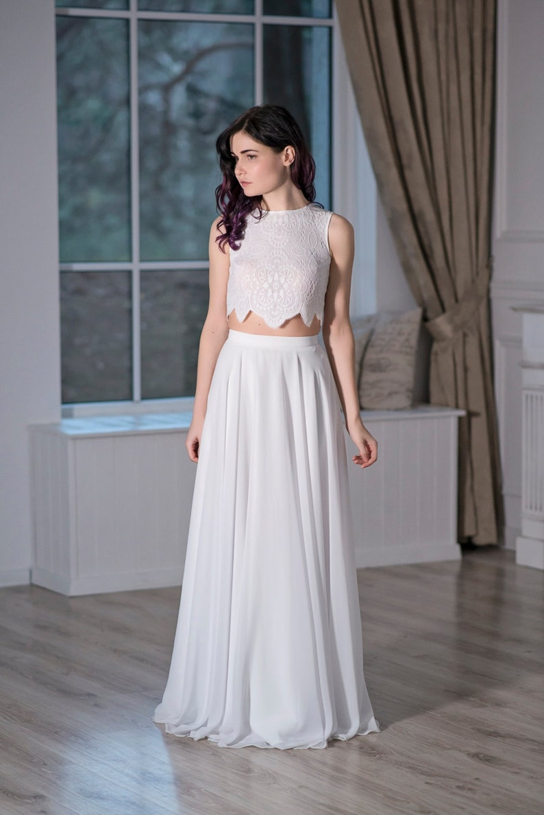 Iris Bohemian Wedding Dress Boho Bridal Gown Beach Wedding Dress Crop Top Bridal Gown Simple Wedding Dress Casual Wedding Dress