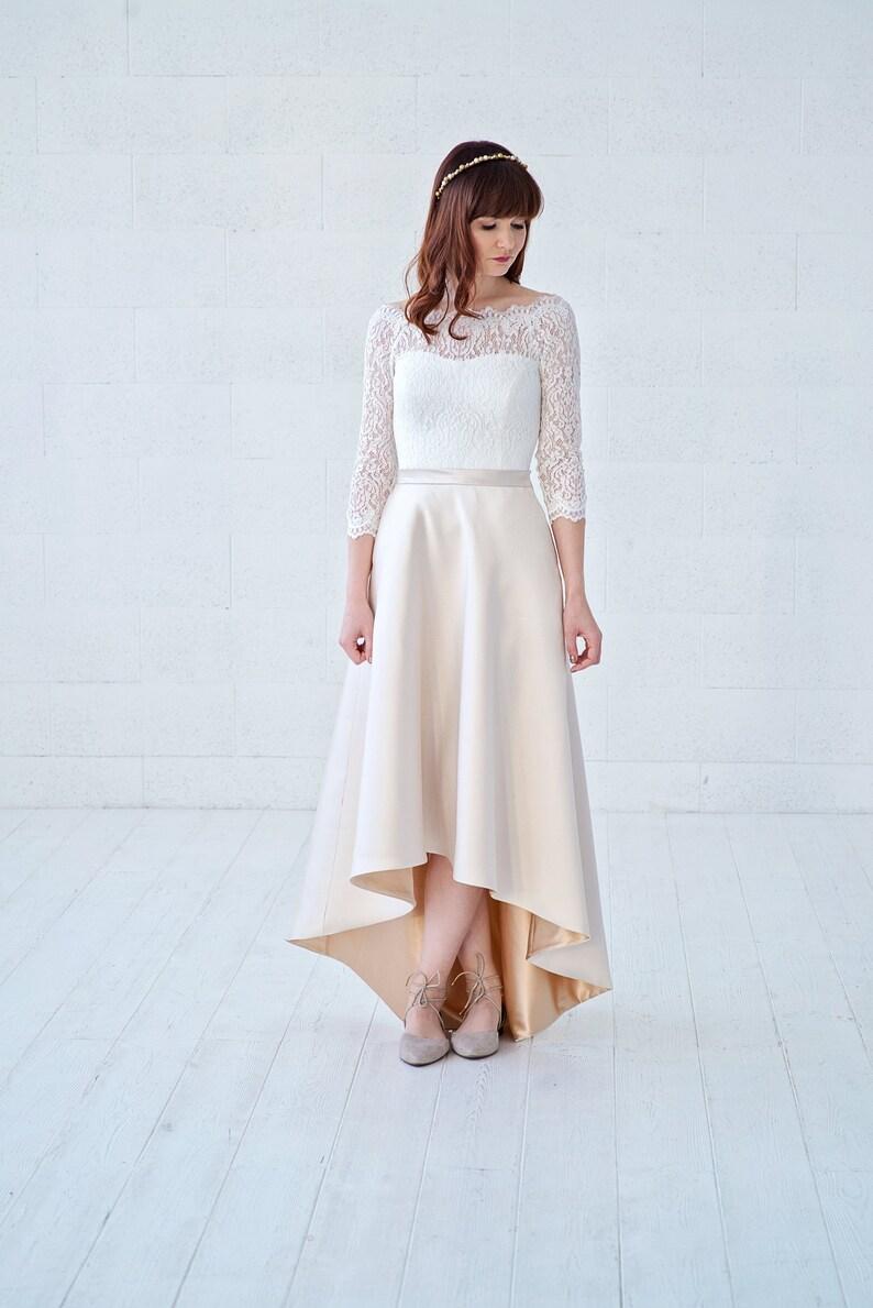 High Low Wedding Dresses.Una Off The Shoulder Wedding Dress High Low Bridal Gown Asymmetric Wedding Dress Ivory And Gold Wedding Dress With Pockets
