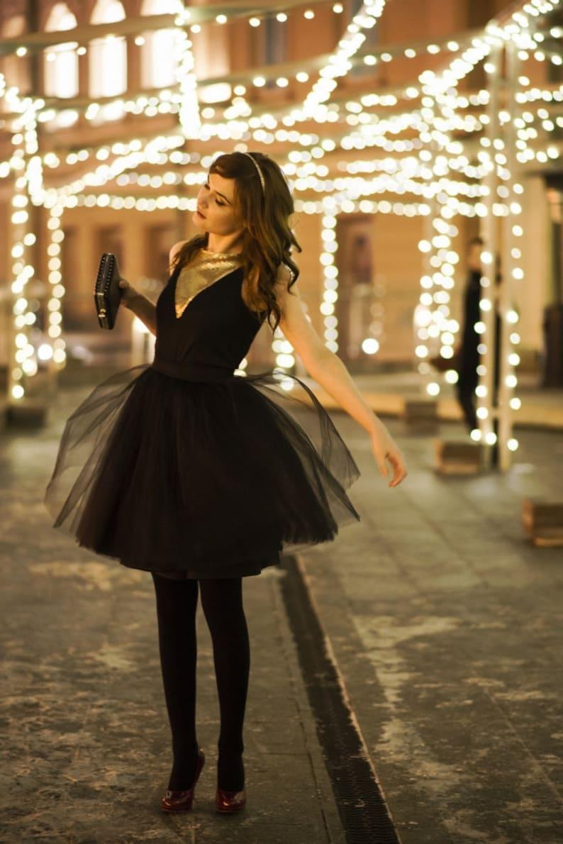Black swan  ladies tulle skirt / adult tutu skirt / black image 0