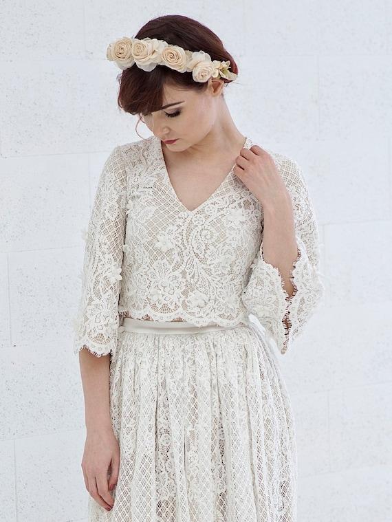 Meri - flare sleeves rustic lace wedding crop top